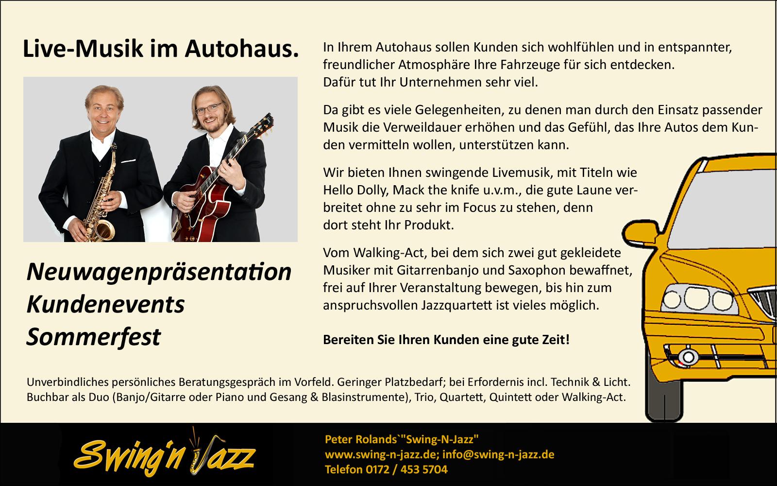 Live-Musik im Autohaus. Peter Roland`s Swing-N-Jazz.de