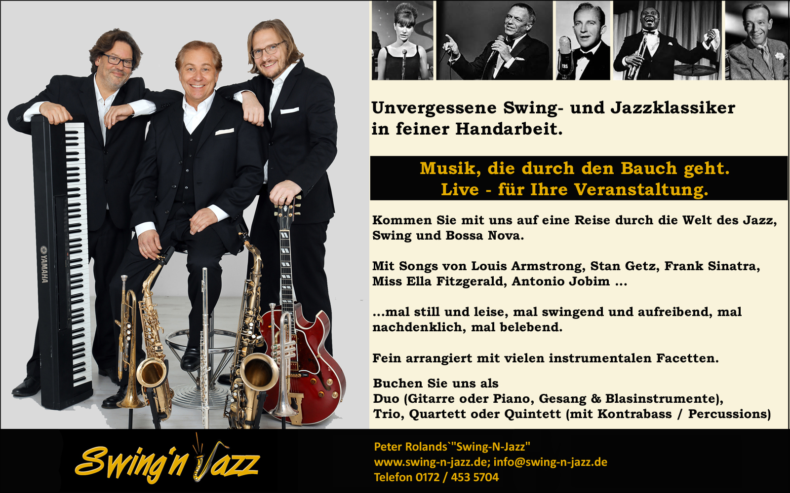 Flyer Peter Rolans`s Swing-N-Jazz Live