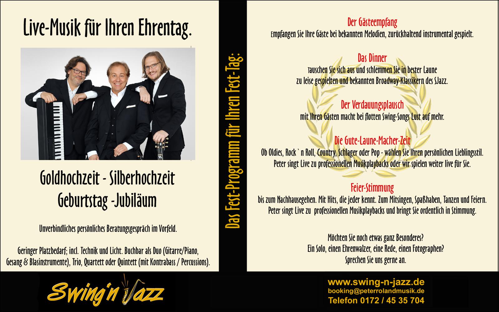 Live-Musik zum Ehrentag. Peter Roland`s Swing-N-Jazz.