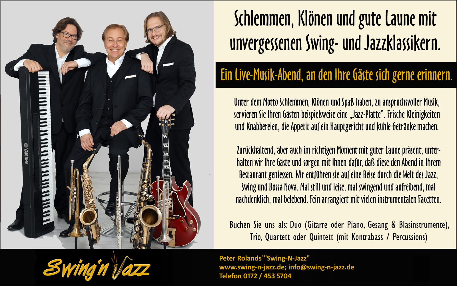 Schlemmem, Klönen, Gute Laune. Peter Roland`s Swing-N-Jazz